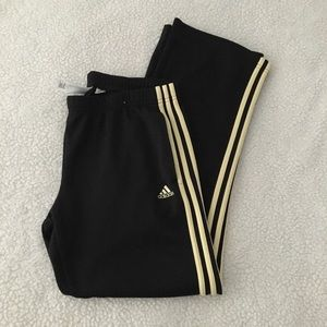 Adidas black track pants with yellow stripes L